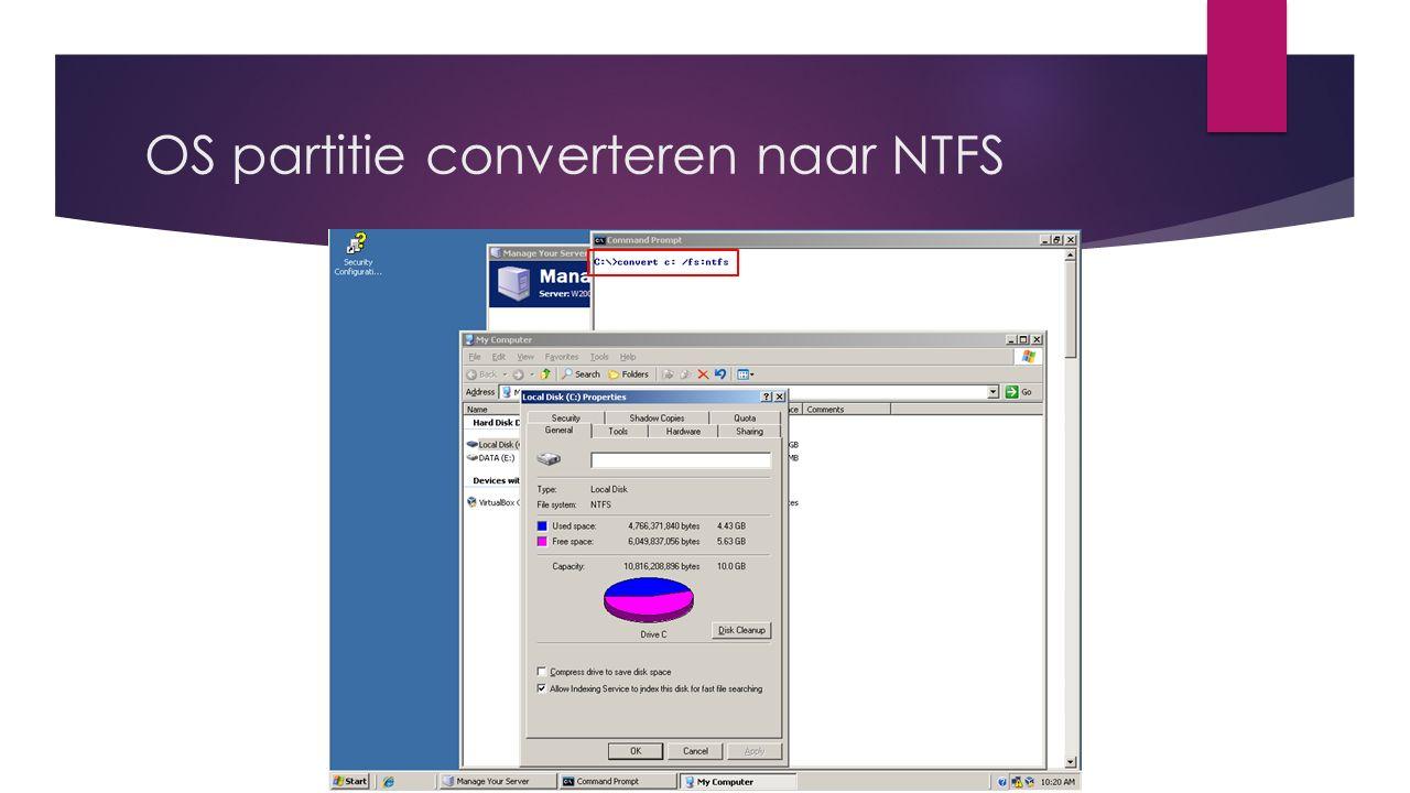 OS partitie converteren naar NTFS