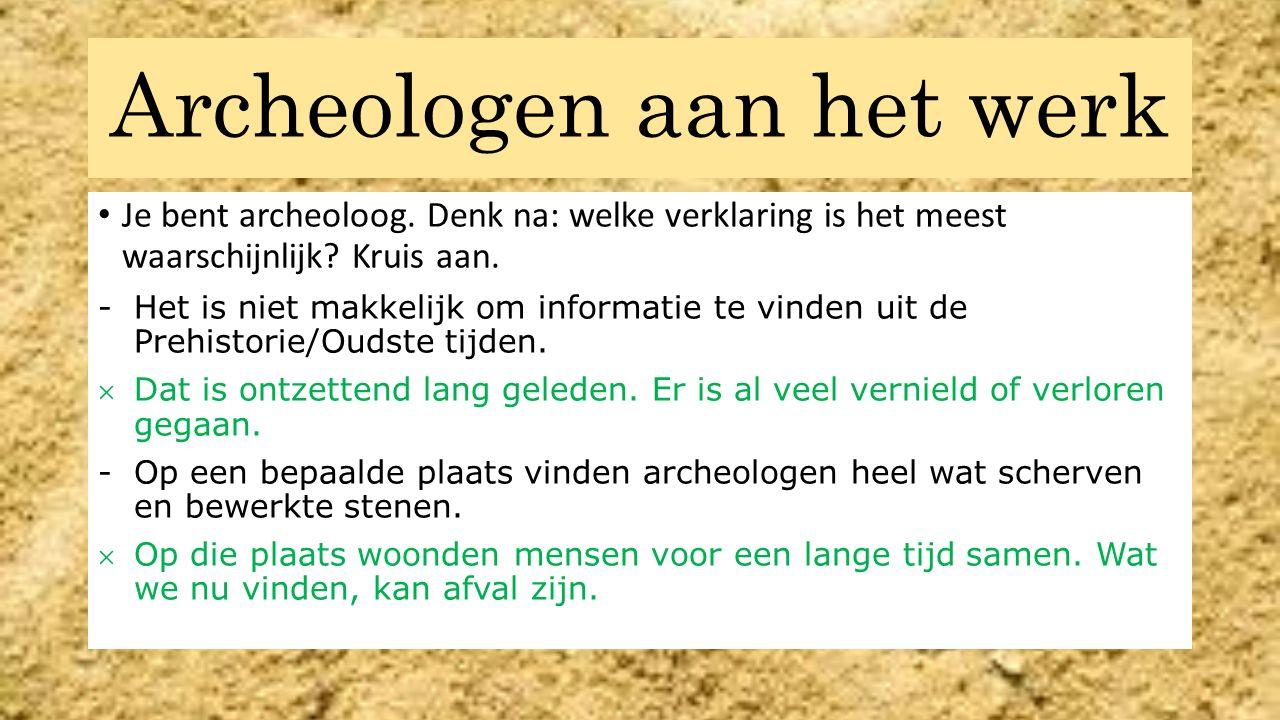 Archeologen aan het werk Je bent archeoloog. Denk na: welke verklaring is het meest waarschijnlijk? Kruis aan. -Het is niet makkelijk om informatie te