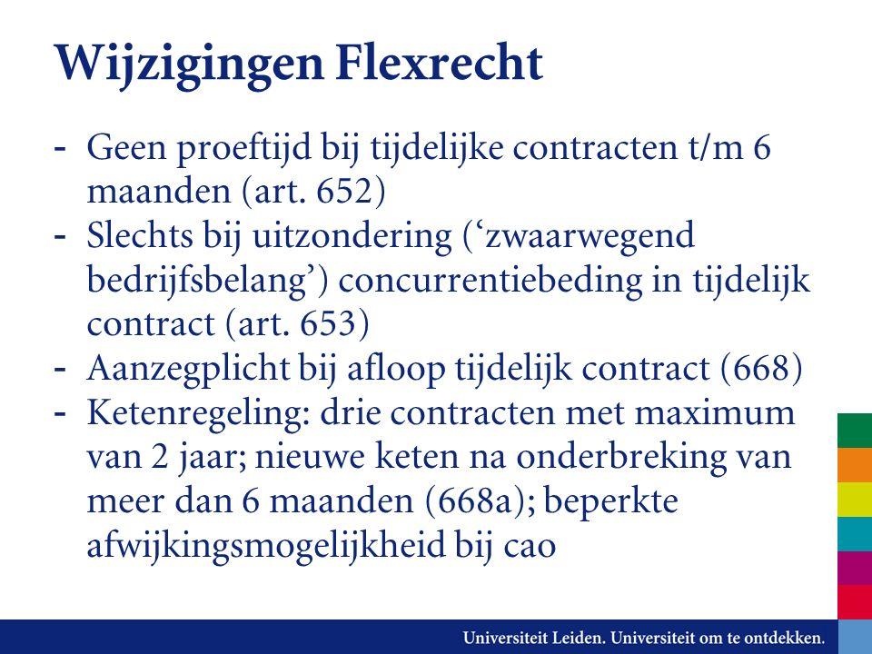 Wijzigingen Flexrecht - Geen proeftijd bij tijdelijke contracten t/m 6 maanden (art.