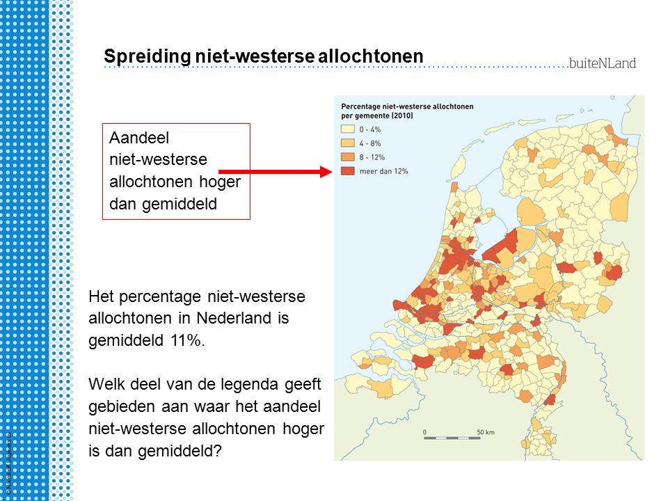 Spreiding niet-westerse allochtonen Het percentage niet-westerse allochtonen in Nederland is gemiddeld 11%. Welk deel van de legenda geeft gebieden aa