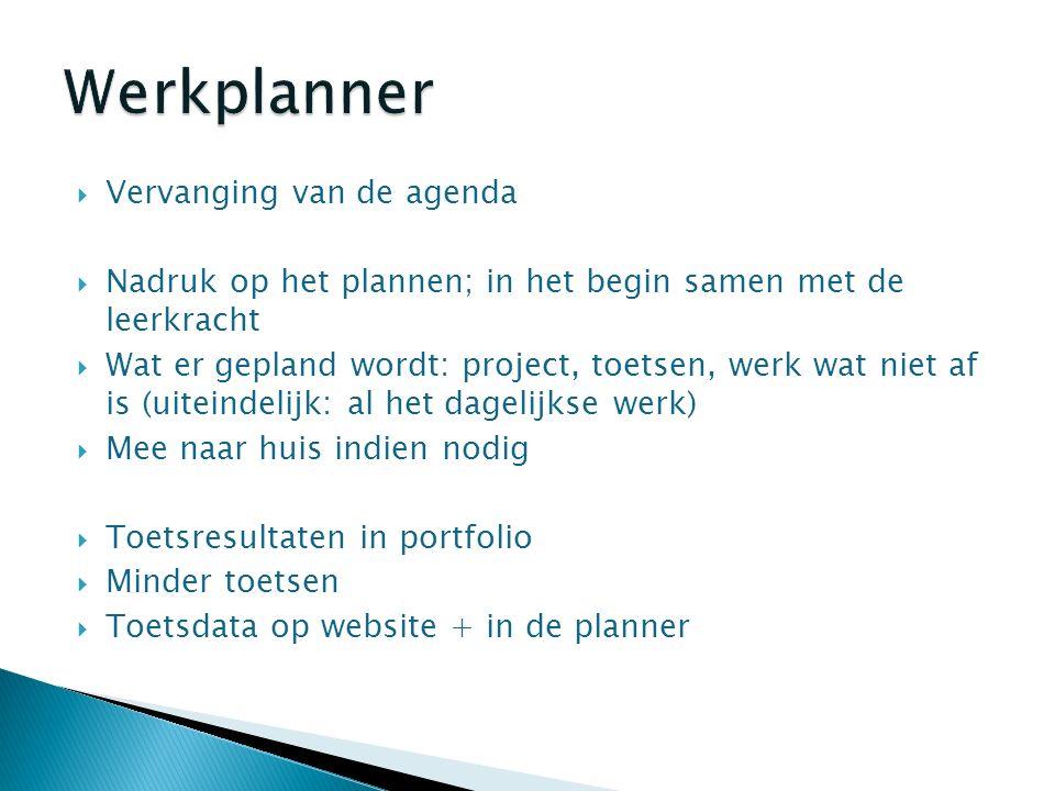  Vervanging van de agenda  Nadruk op het plannen; in het begin samen met de leerkracht  Wat er gepland wordt: project, toetsen, werk wat niet af is (uiteindelijk: al het dagelijkse werk)  Mee naar huis indien nodig  Toetsresultaten in portfolio  Minder toetsen  Toetsdata op website + in de planner