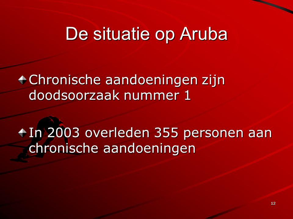 12 De situatie op Aruba Chronische aandoeningen zijn doodsoorzaak nummer 1 In 2003 overleden 355 personen aan chronische aandoeningen