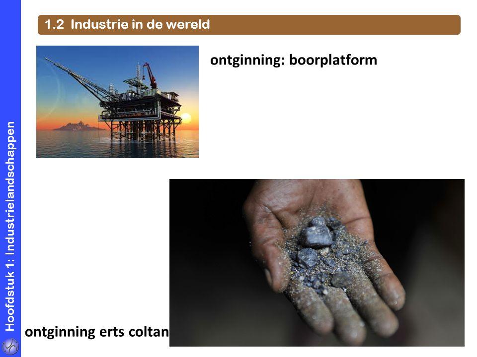 Hoofdstuk 1: Industrielandschappen 1.2 Industrie in de wereld ontginning: boorplatform ontginning erts coltan