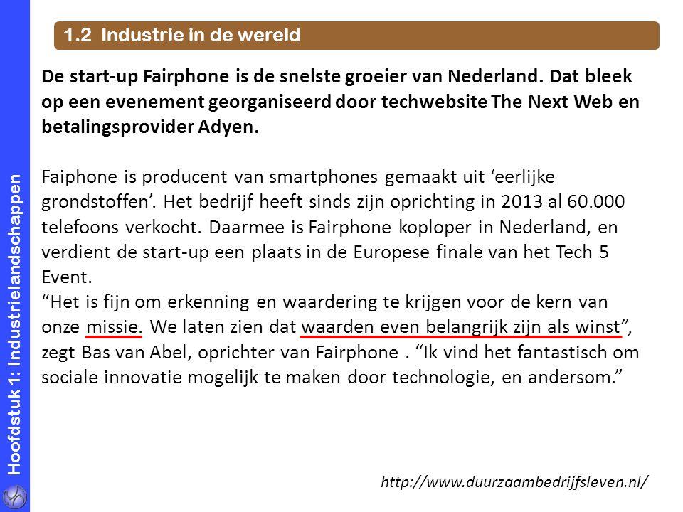 Hoofdstuk 1: Industrielandschappen 1.2 Industrie in de wereld De start-up Fairphone is de snelste groeier van Nederland. Dat bleek op een evenement ge