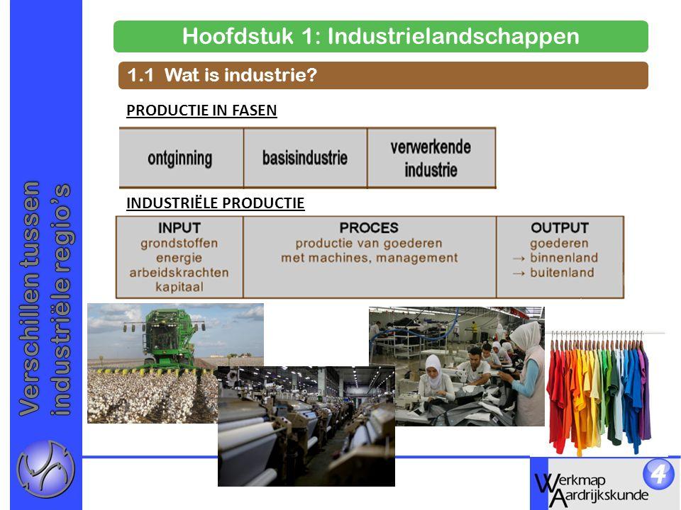 Hoofdstuk 1: Industrielandschappen 1.1 Wat is industrie? PRODUCTIE IN FASEN INDUSTRIËLE PRODUCTIE