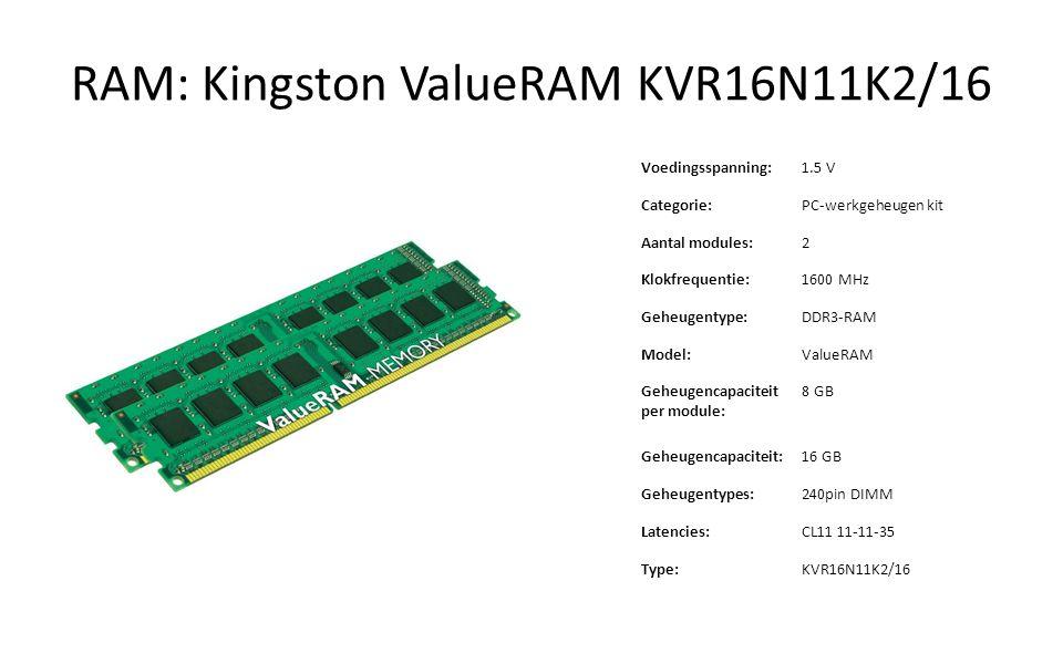 RAM: Kingston ValueRAM KVR16N11K2/16 Voedingsspanning:1.5 V Categorie: PC ‑ werkgeheugen kit Aantal modules:2 Klokfrequentie:1600 MHz Geheugentype: DD