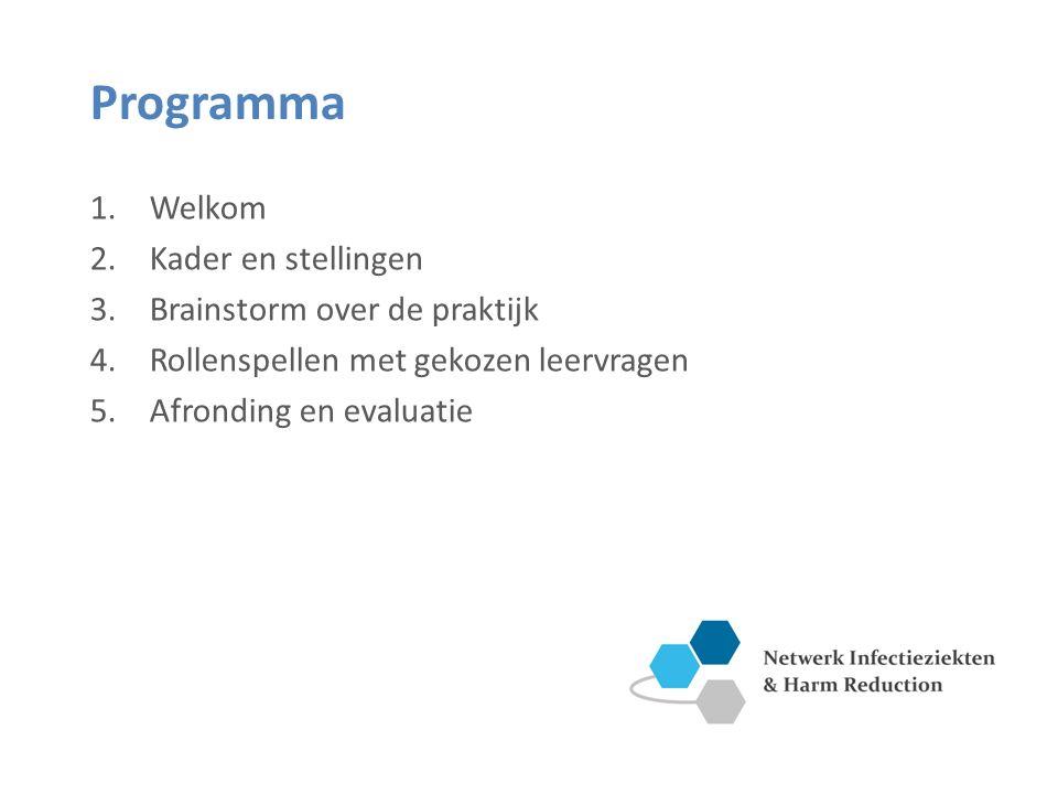 Programma 1.Welkom 2.Kader en stellingen 3.Brainstorm over de praktijk 4.Rollenspellen met gekozen leervragen 5.Afronding en evaluatie