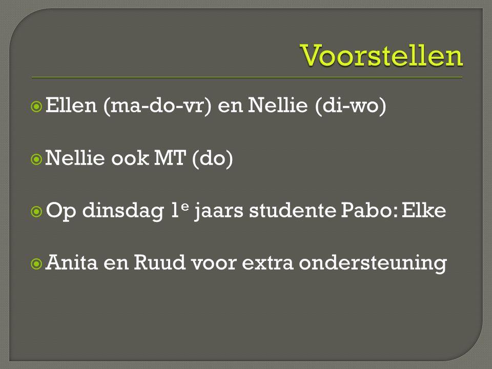  Ellen (ma-do-vr) en Nellie (di-wo)  Nellie ook MT (do)  Op dinsdag 1 e jaars studente Pabo: Elke  Anita en Ruud voor extra ondersteuning