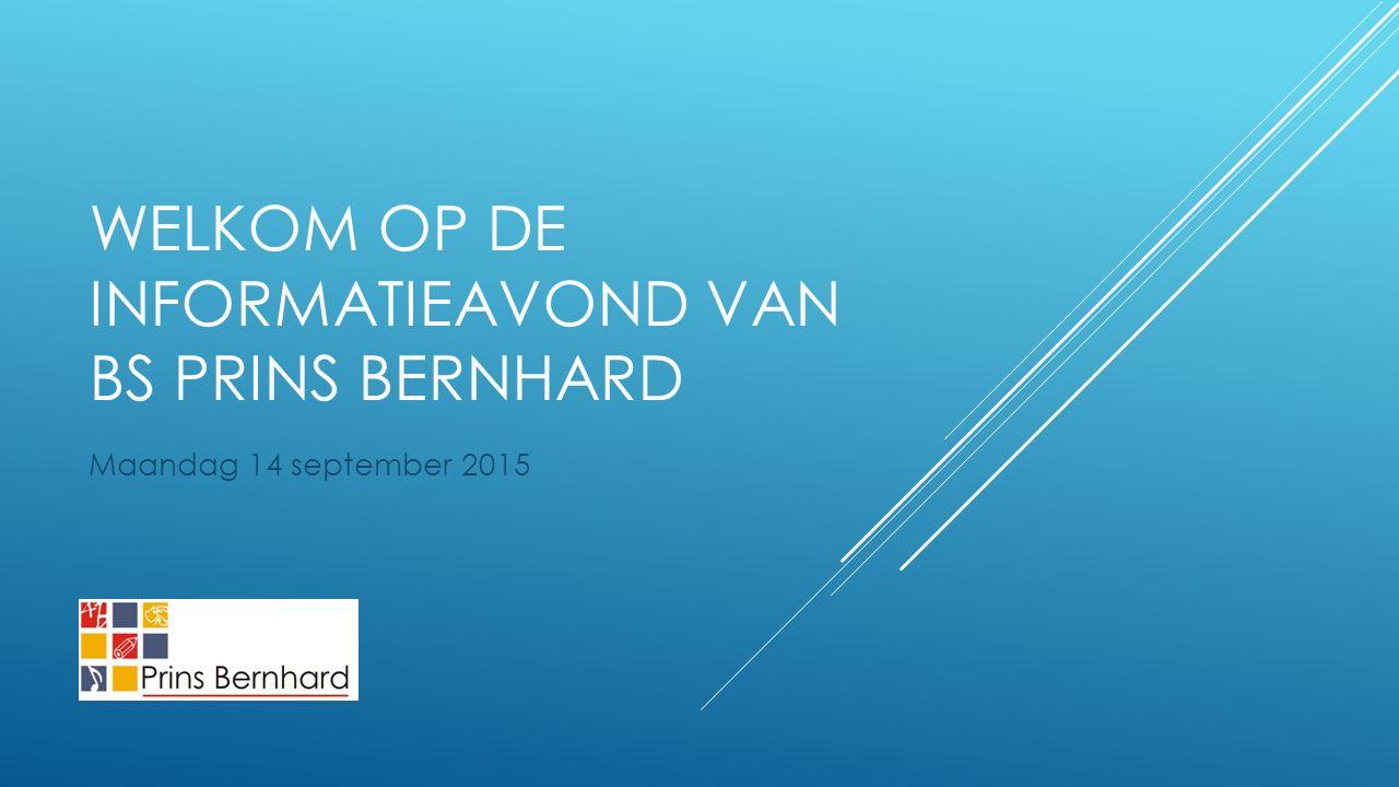 WELKOM OP DE INFORMATIEAVOND VAN BS PRINS BERNHARD Maandag 14 september 2015