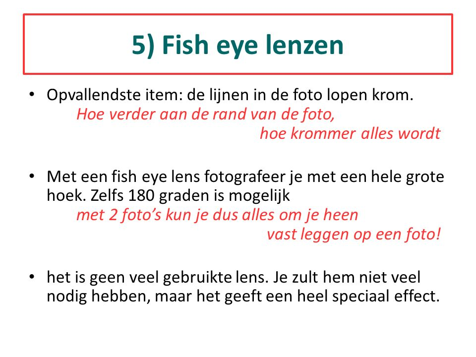 Opvallendste item: de lijnen in de foto lopen krom. Hoe verder aan de rand van de foto, hoe krommer alles wordt Met een fish eye lens fotografeer je m