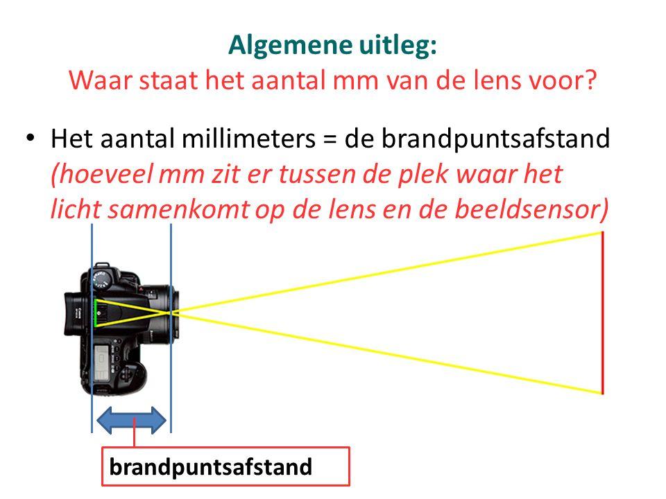 Algemene uitleg: Waar staat het aantal mm van de lens voor? Het aantal millimeters = de brandpuntsafstand (hoeveel mm zit er tussen de plek waar het l