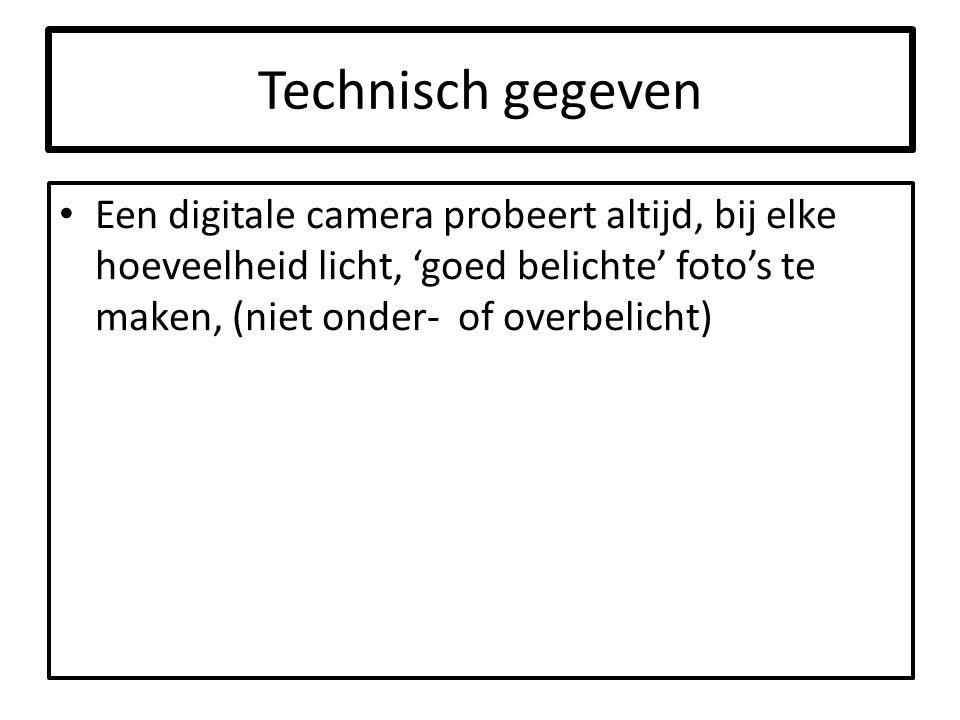 Technisch gegeven Een digitale camera probeert altijd, bij elke hoeveelheid licht, 'goed belichte' foto's te maken, (niet onder- of overbelicht)