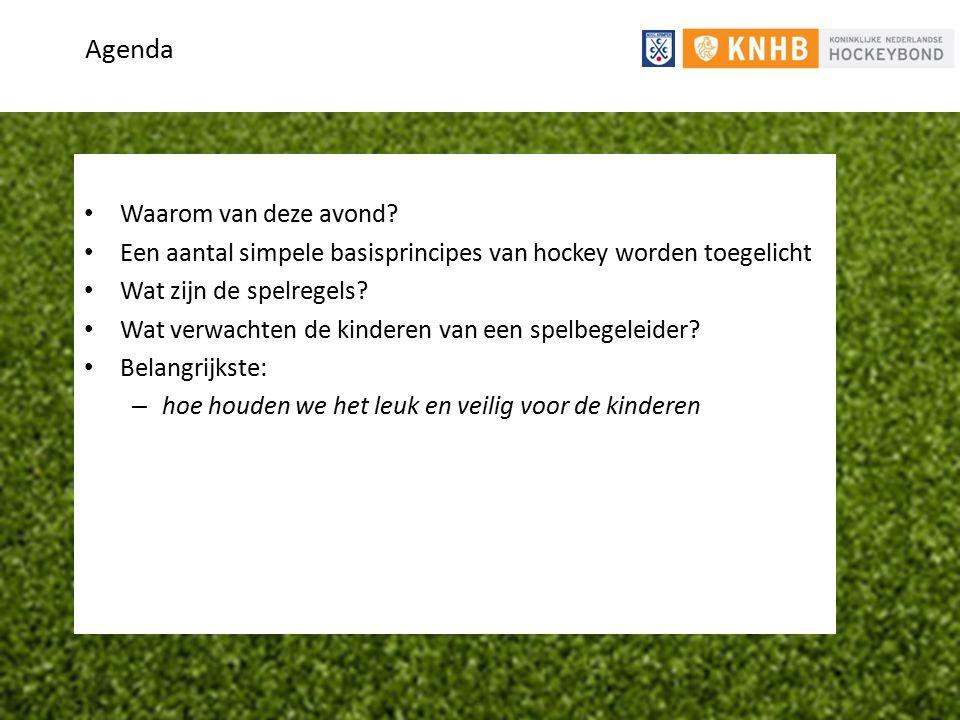 Agenda Waarom van deze avond? Een aantal simpele basisprincipes van hockey worden toegelicht Wat zijn de spelregels? Wat verwachten de kinderen van ee
