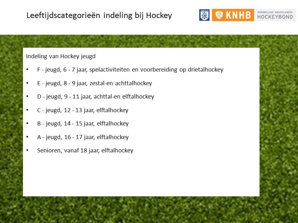 Leeftijdscategorieën indeling bij Hockey Indeling van Hockey jeugd F - jeugd, 6 - 7 jaar, spelactiviteiten en voorbereiding op drietalhockey E - jeugd