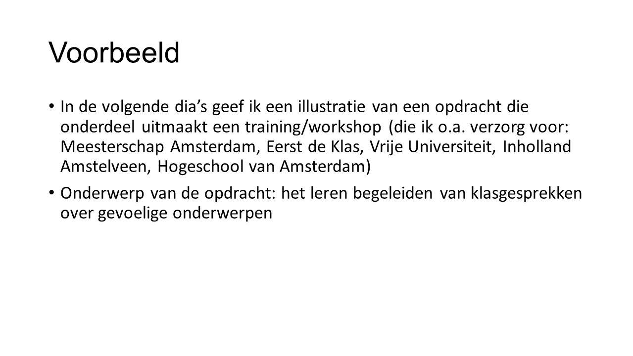 Voorbeeld In de volgende dia's geef ik een illustratie van een opdracht die onderdeel uitmaakt een training/workshop (die ik o.a. verzorg voor: Meeste