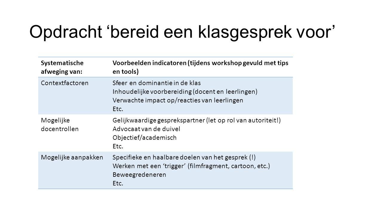 Opdracht 'bereid een klasgesprek voor' Systematische afweging van: Voorbeelden indicatoren (tijdens workshop gevuld met tips en tools) Contextfactoren