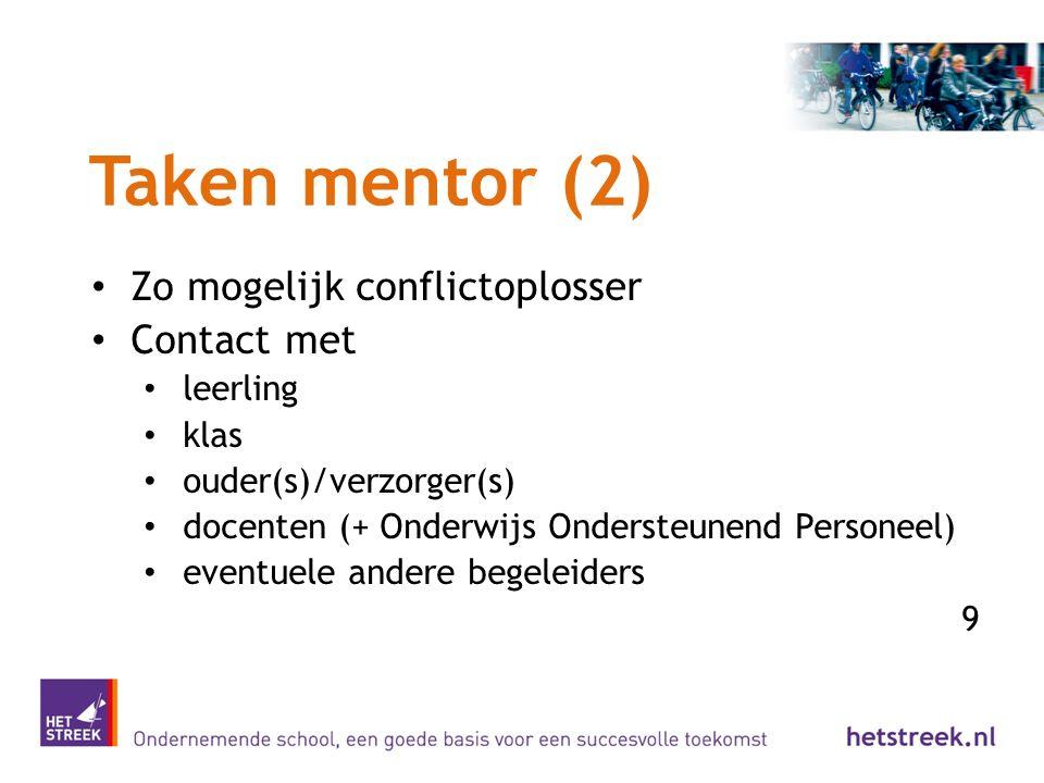 Taken mentor (2) Zo mogelijk conflictoplosser Contact met leerling klas ouder(s)/verzorger(s) docenten (+ Onderwijs Ondersteunend Personeel) eventuele