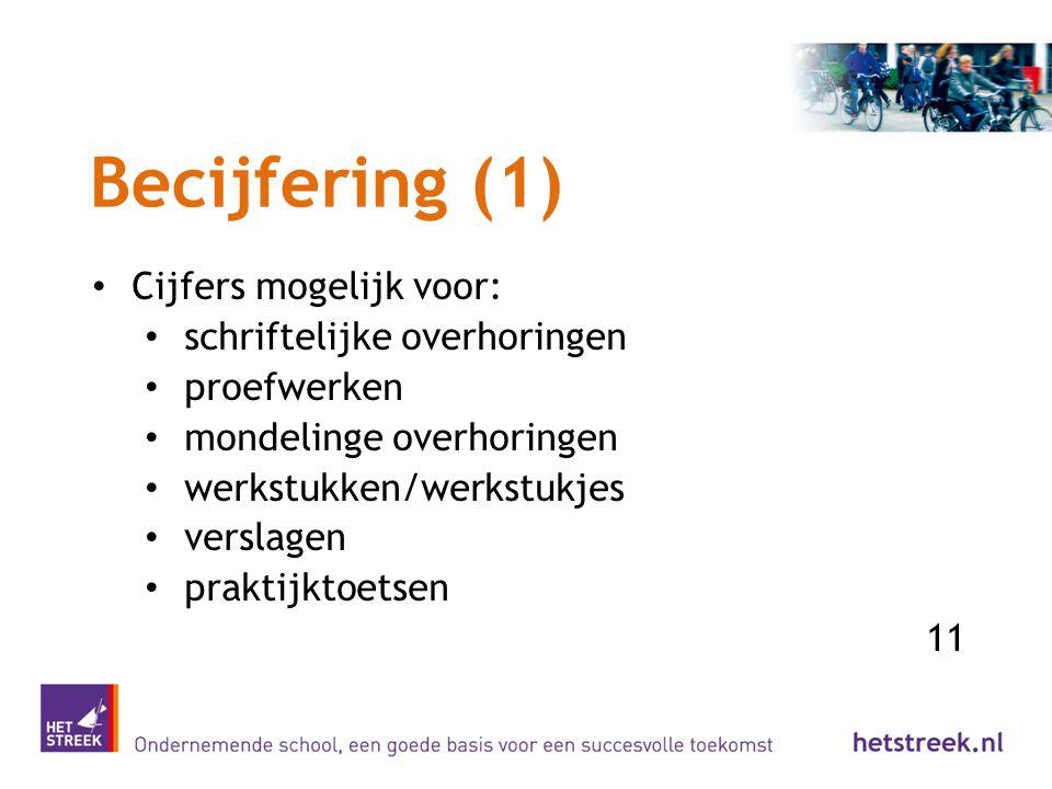 Becijfering (1) Cijfers mogelijk voor: schriftelijke overhoringen proefwerken mondelinge overhoringen werkstukken/werkstukjes verslagen praktijktoetse