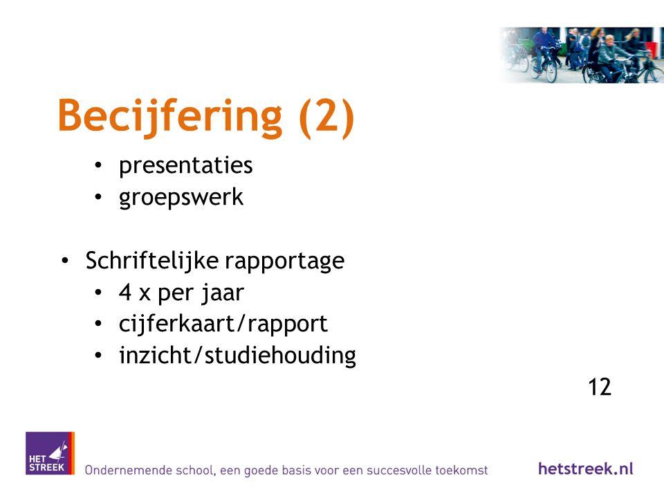 Becijfering (2) presentaties groepswerk Schriftelijke rapportage 4 x per jaar cijferkaart/rapport inzicht/studiehouding 12