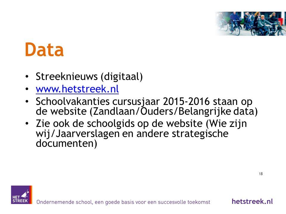 Data Streeknieuws (digitaal) www.hetstreek.nl Schoolvakanties cursusjaar 2015-2016 staan op de website (Zandlaan/Ouders/Belangrijke data) Zie ook de s