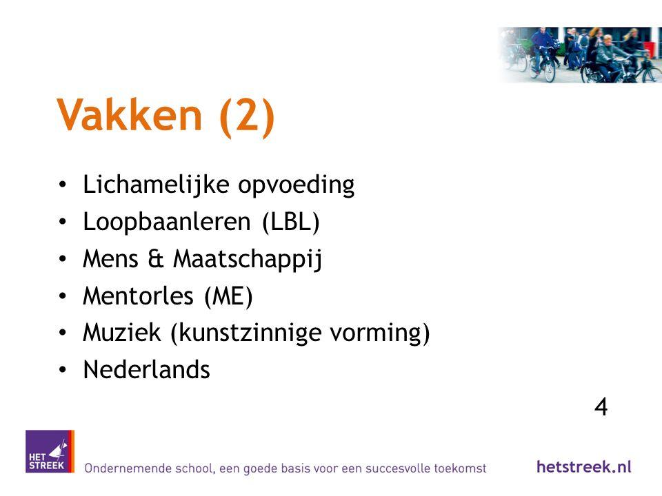 Vakken (2) Lichamelijke opvoeding Loopbaanleren (LBL) Mens & Maatschappij Mentorles (ME) Muziek (kunstzinnige vorming) Nederlands 4