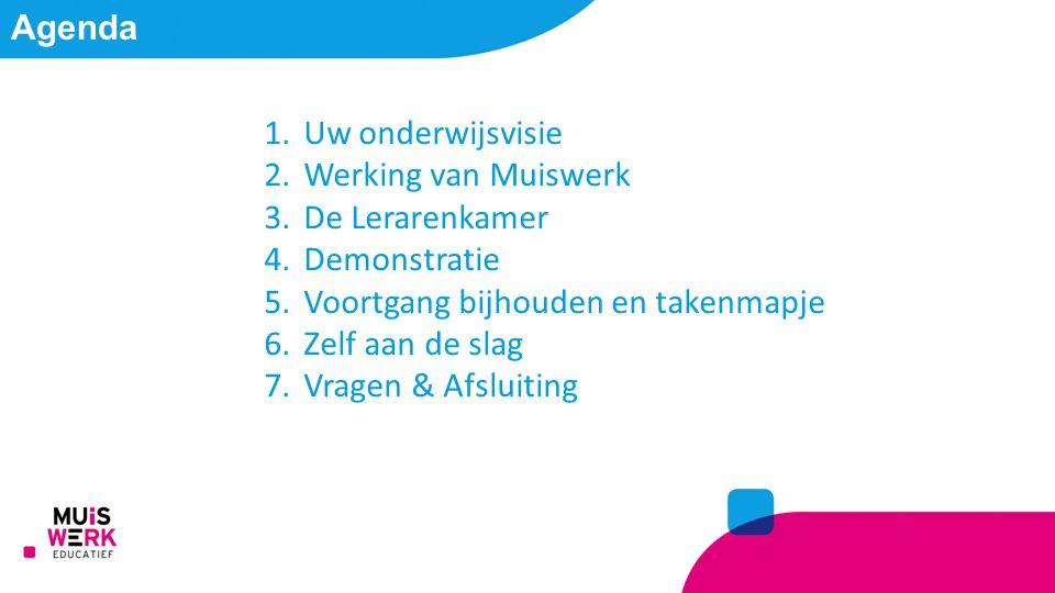 Agenda 1.Uw onderwijsvisie 2.Werking van Muiswerk 3.De Lerarenkamer 4.Demonstratie 5.Voortgang bijhouden en takenmapje 6.Zelf aan de slag 7.Vragen & Afsluiting