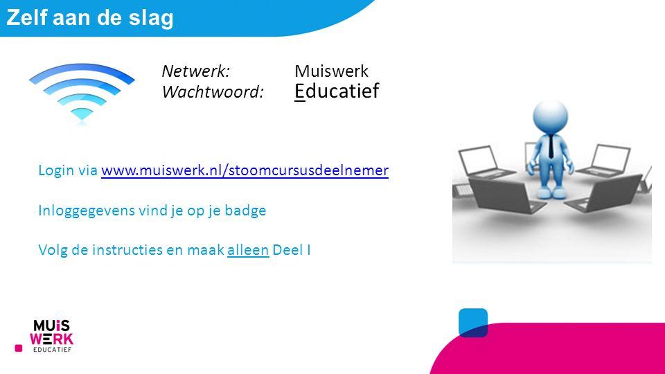 Zelf aan de slag Login via www.muiswerk.nl/stoomcursusdeelnemerwww.muiswerk.nl/stoomcursusdeelnemer Inloggegevens vind je op je badge Volg de instructies en maak alleen Deel I Netwerk: Muiswerk Wachtwoord: Educatief