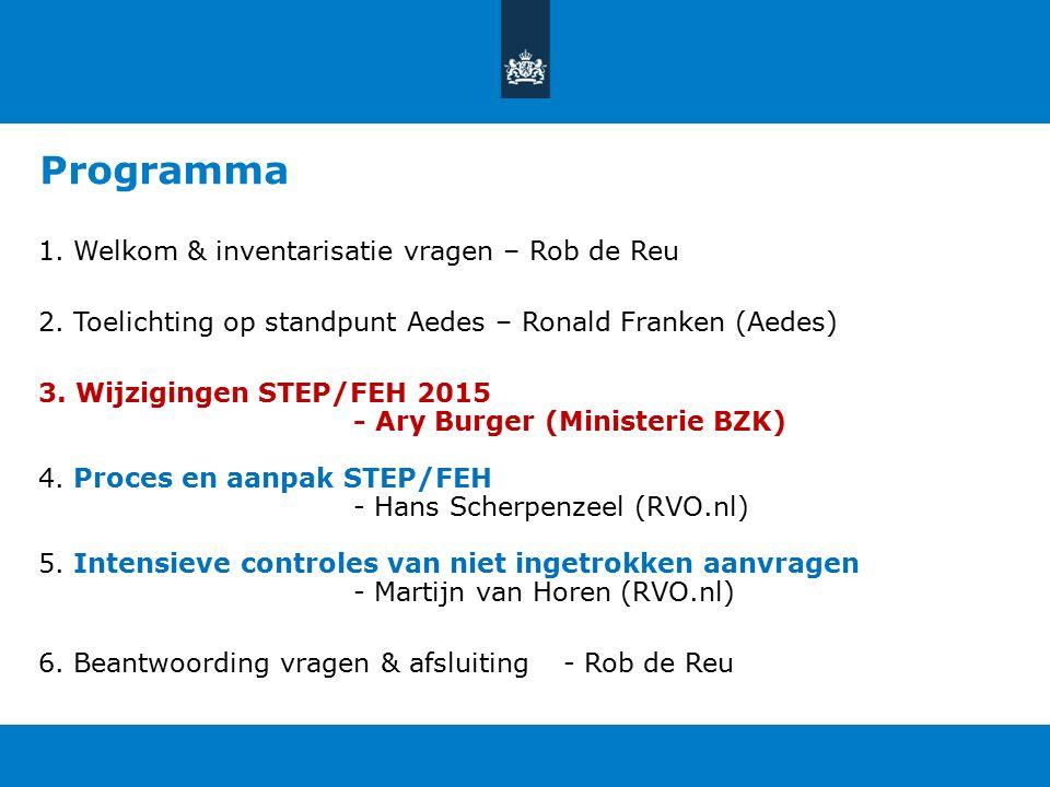 Wijzigingen STEP/FEH 2015 Presentatie voor bijeenkomst Aedes, 18 september 2015