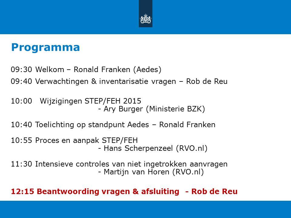 Programma 09:30 Welkom – Ronald Franken (Aedes) 09:40 Verwachtingen & inventarisatie vragen – Rob de Reu 10:00Wijzigingen STEP/FEH 2015 - Ary Burger (Ministerie BZK) 10:40 Toelichting op standpunt Aedes – Ronald Franken 10:55 Proces en aanpak STEP/FEH - Hans Scherpenzeel (RVO.nl) 11:30 Intensieve controles van niet ingetrokken aanvragen - Martijn van Horen (RVO.nl) 12:15 Beantwoording vragen & afsluiting- Rob de Reu