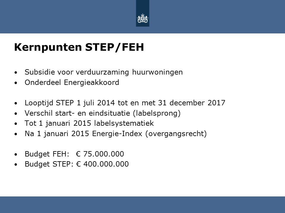 Kernpunten STEP/FEH Subsidie voor verduurzaming huurwoningen Onderdeel Energieakkoord Looptijd STEP 1 juli 2014 tot en met 31 december 2017 Verschil start- en eindsituatie (labelsprong) Tot 1 januari 2015 labelsystematiek Na 1 januari 2015 Energie-Index (overgangsrecht) Budget FEH: € 75.000.000 Budget STEP: € 400.000.000