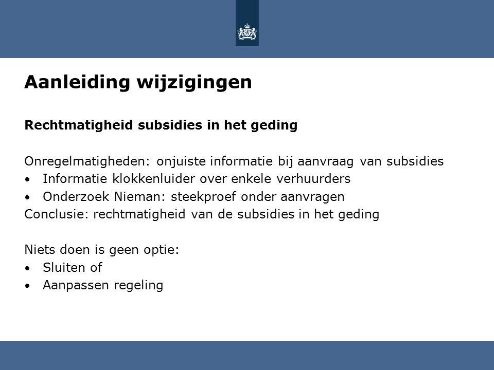 Uitgangspunt nieuwe regelingen Aanvragen in de gewijzigde regelingen (vanaf 1.9.2015) Kwaliteit verbeteren door aanvrager bewust en verantwoordelijk te maken van de aangeleverde informatie