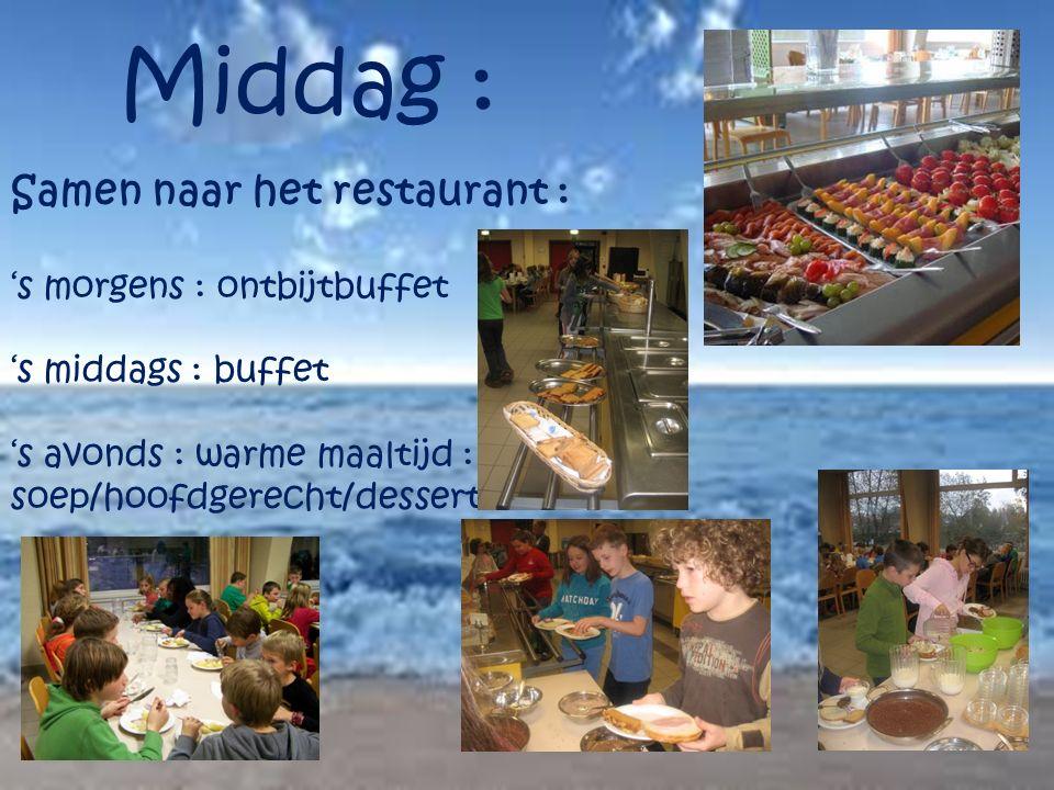 Middag : Samen naar het restaurant : 's morgens : ontbijtbuffet 's middags : buffet 's avonds : warme maaltijd : soep/hoofdgerecht/dessert