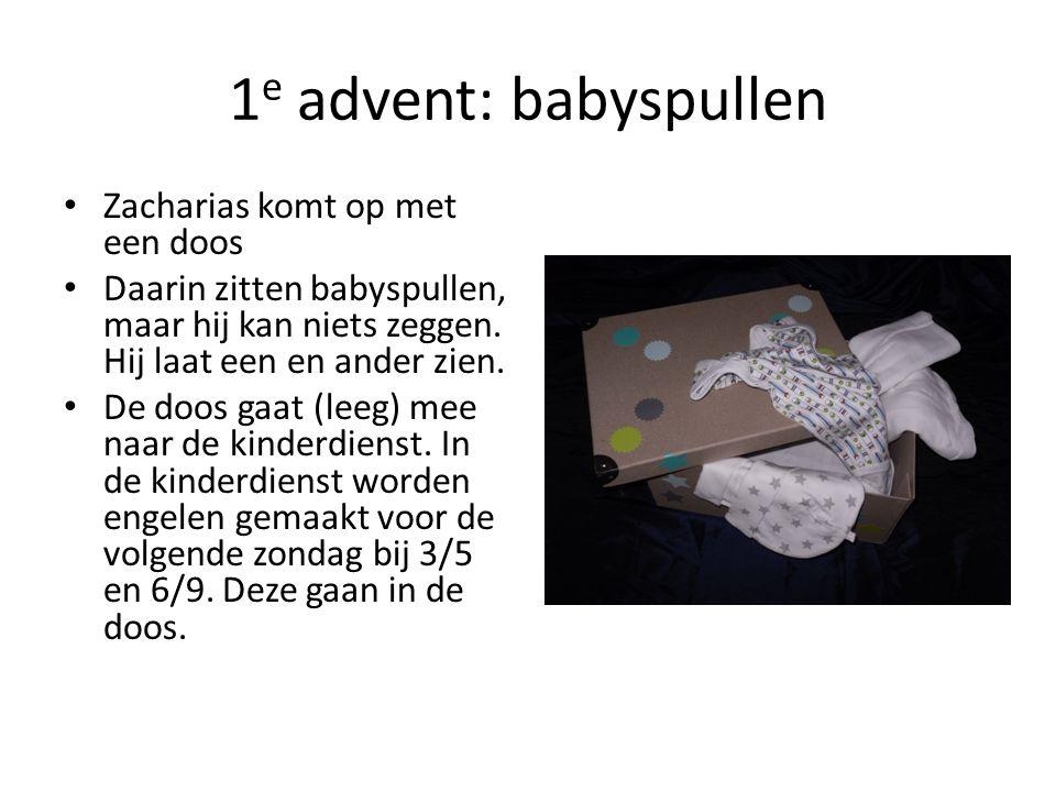 1 e advent: babyspullen Zacharias komt op met een doos Daarin zitten babyspullen, maar hij kan niets zeggen. Hij laat een en ander zien. De doos gaat