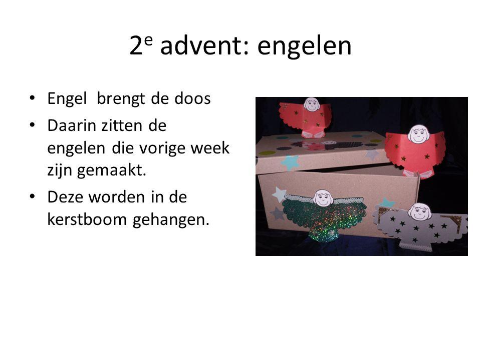 2 e advent: engelen Engel brengt de doos Daarin zitten de engelen die vorige week zijn gemaakt. Deze worden in de kerstboom gehangen.