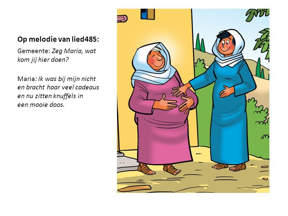 Op melodie van lied485: Gemeente: Zeg Maria, wat kom jij hier doen? Maria: Ik was bij mijn nicht en bracht haar veel cadeaus en nu zitten knuffels in
