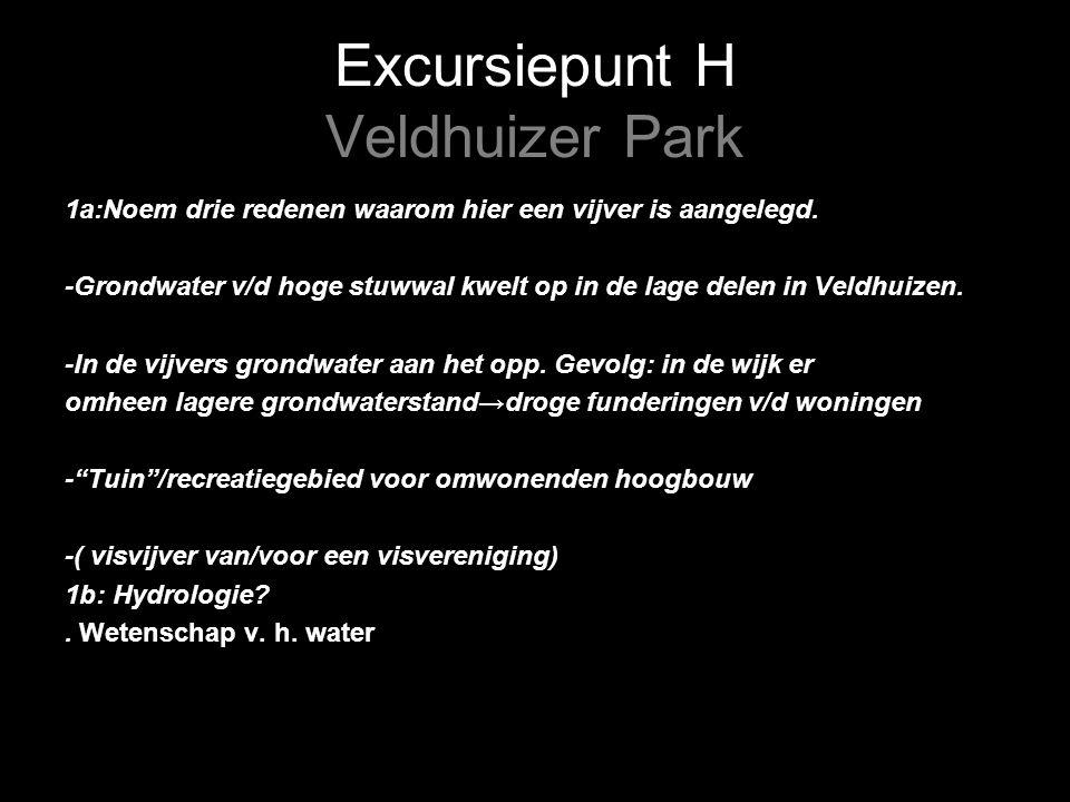Excursiepunt H Veldhuizer Park 1a:Noem drie redenen waarom hier een vijver is aangelegd.