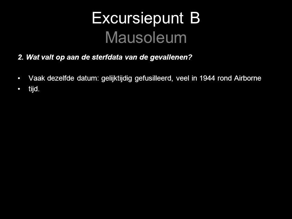 Excursiepunt B Mausoleum 2. Wat valt op aan de sterfdata van de gevallenen.