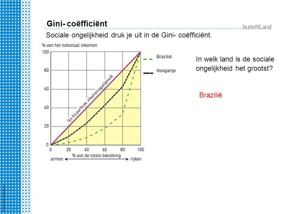 Gini- coëfficiënt Sociale ongelijkheid druk je uit in de Gini- coëfficiënt. In welk land is de sociale ongelijkheid het grootst? Brazilië