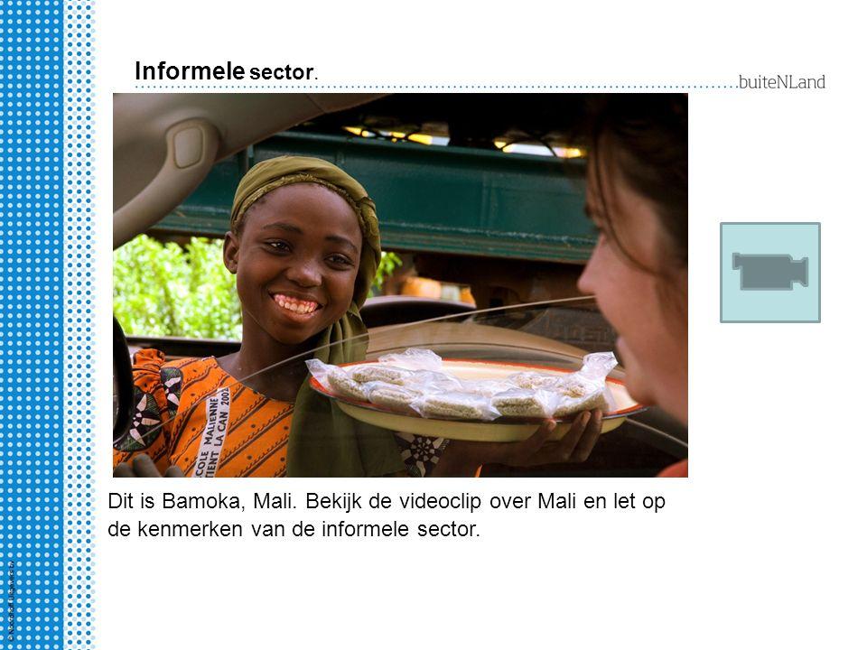 Informele sector. Dit is Bamoka, Mali. Bekijk de videoclip over Mali en let op de kenmerken van de informele sector.
