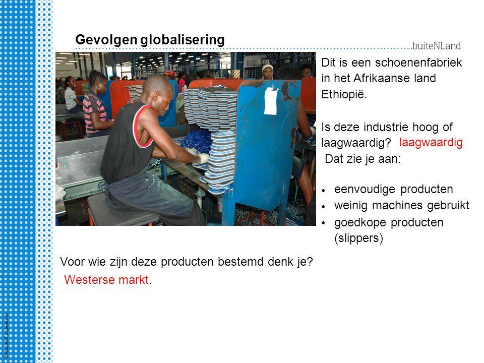 Dit is een schoenenfabriek in het Afrikaanse land Ethiopië. Is deze industrie hoog of laagwaardig? Dat zie je aan: eenvoudige producten weinig machine