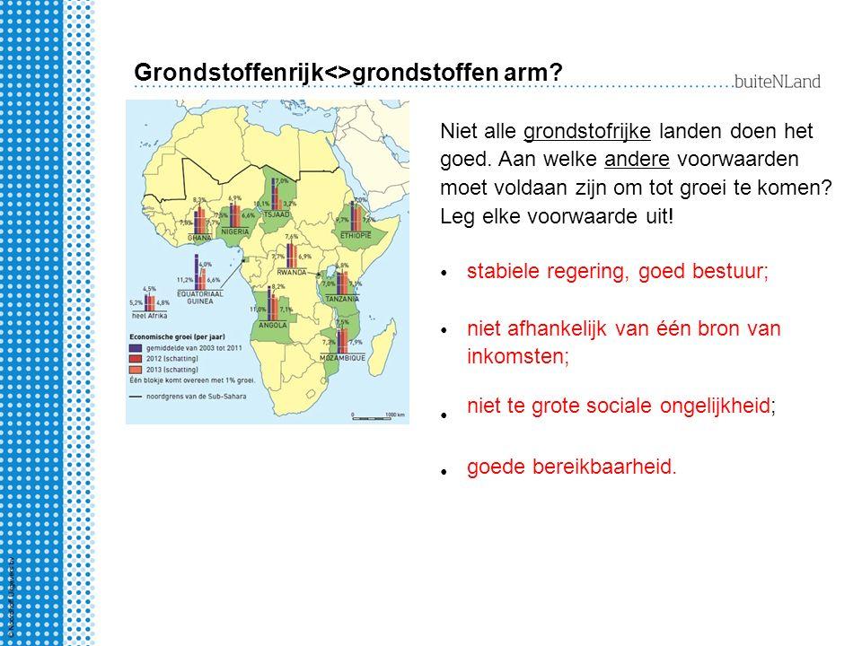 Grondstoffenrijk<>grondstoffen arm? Niet alle grondstofrijke landen doen het goed. Aan welke andere voorwaarden moet voldaan zijn om tot groei te kome