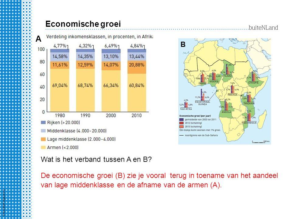 A B Wat is het verband tussen A en B? Economische groei De economische groei (B) zie je vooral terug in toename van het aandeel van lage middenklasse