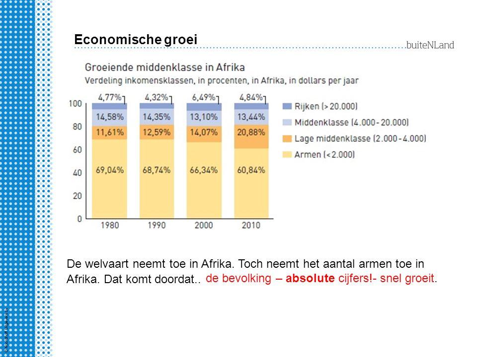 Economische groei De welvaart neemt toe in Afrika. Toch neemt het aantal armen toe in Afrika. Dat komt doordat.. de bevolking – absolute cijfers!- sne