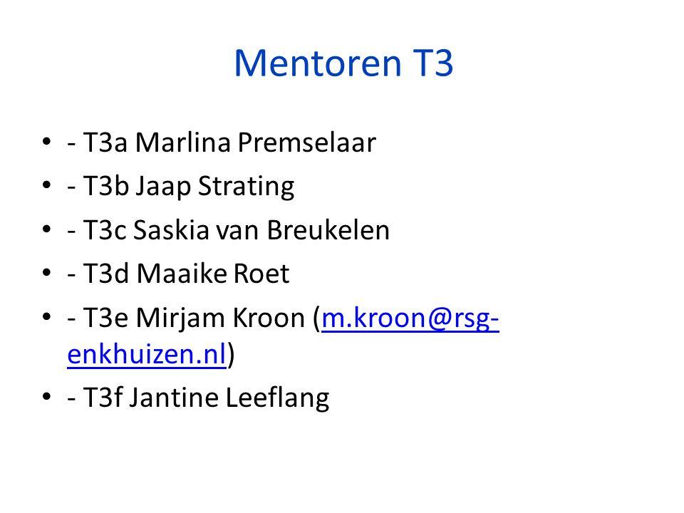 Mentoren T3 - T3a Marlina Premselaar - T3b Jaap Strating - T3c Saskia van Breukelen - T3d Maaike Roet - T3e Mirjam Kroon (m.kroon@rsg- enkhuizen.nl)m.