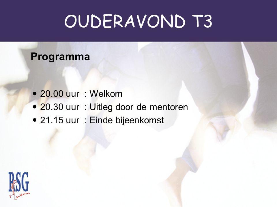 OUDERAVOND T3 SE (schoolexamen) begint al in T3.SE Maatschappijleer wordt afgesloten in T3.