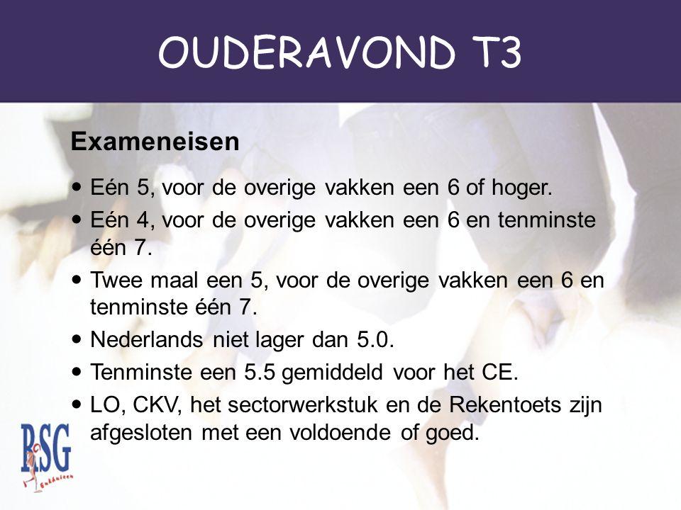 OUDERAVOND T3 Eén 5, voor de overige vakken een 6 of hoger. Eén 4, voor de overige vakken een 6 en tenminste één 7. Twee maal een 5, voor de overige v