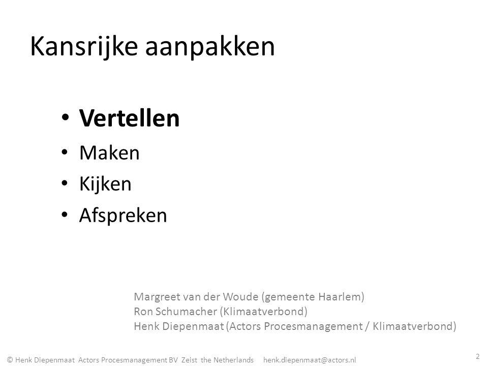 © Henk Diepenmaat Actors Procesmanagement BV Zeist the Netherlands henk.diepenmaat@actors.nl Wie van jullie vindt stimuleren van energiebesparing eenvoudig.