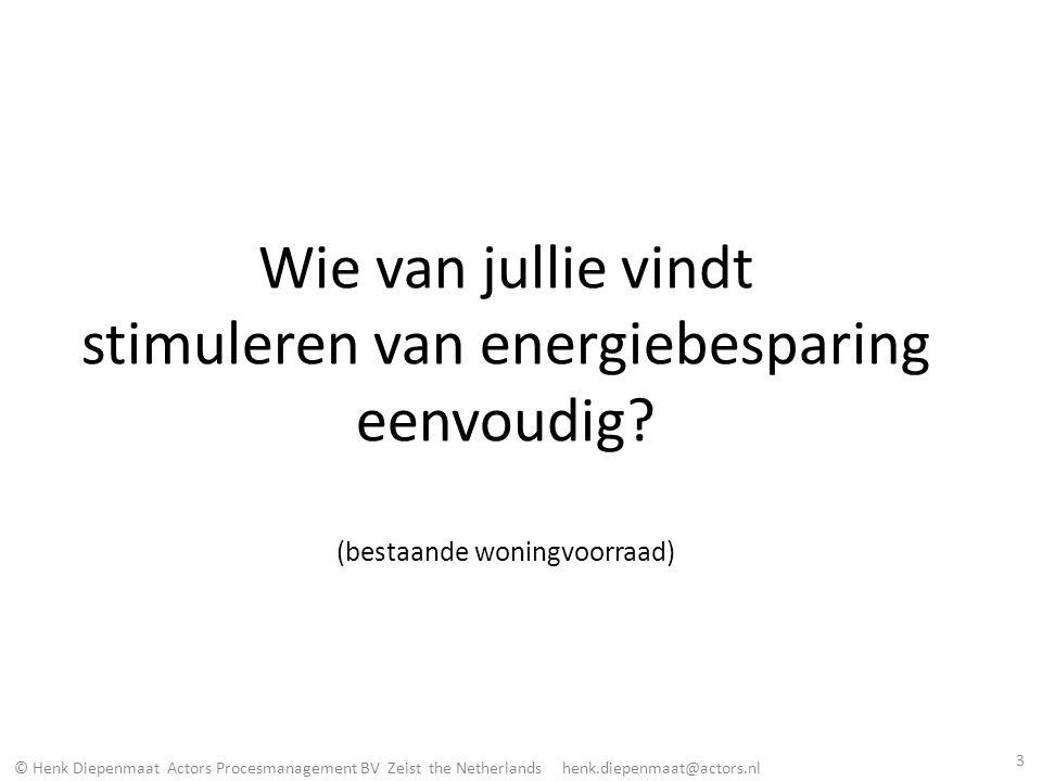 © Henk Diepenmaat Actors Procesmanagement BV Zeist the Netherlands henk.diepenmaat@actors.nl Wie van jullie vindt stimuleren van energiebesparing eenv