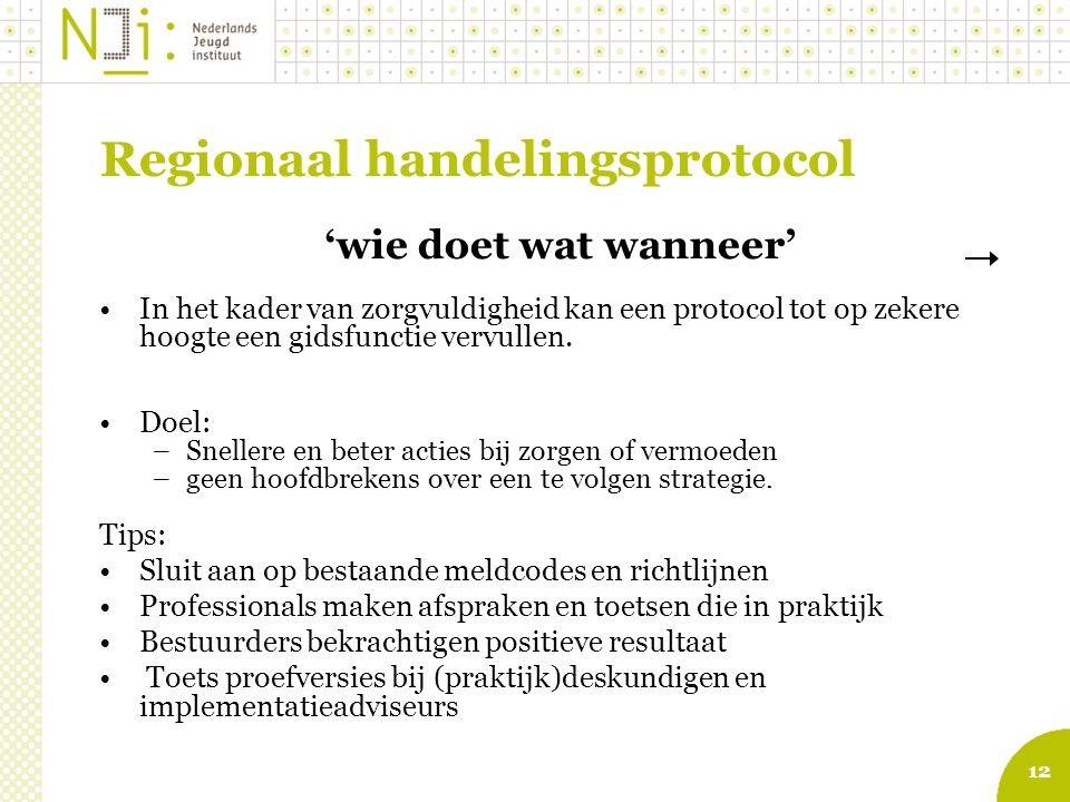 12 Regionaal handelingsprotocol 'wie doet wat wanneer' In het kader van zorgvuldigheid kan een protocol tot op zekere hoogte een gidsfunctie vervullen.