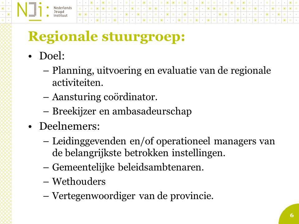 6 Regionale stuurgroep: Doel: –Planning, uitvoering en evaluatie van de regionale activiteiten.